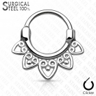 "Piercing do nosu z chirurgické oceli 316L septum ""tribal"" -no41-"