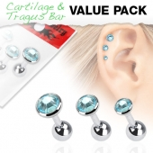 "3ks Piercing ucha Cartilage/tragus ""Sada modrá"" -ct17-"