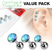 "3ks Piercing ucha Cartilage/tragus ""Sada opál"" -ct59-"